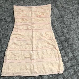 Peach strapless dress